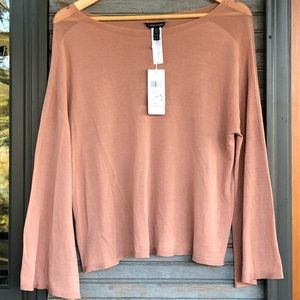 Eileen Fisher taupe bell sleeve top